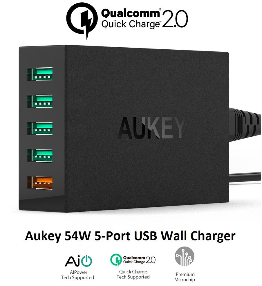 [Sales] Aukey Quick Charge 2.0 54W 5 Port USB Wall Charger