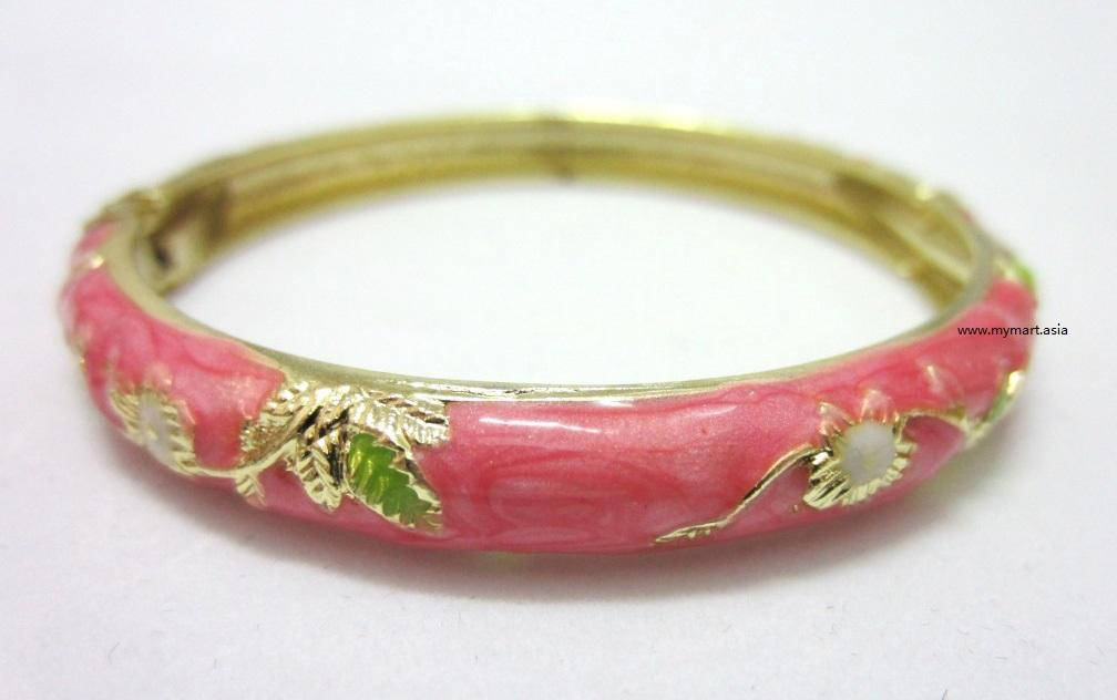 SALES Chinese Floral Oil Painting Fine Bracelet PINK