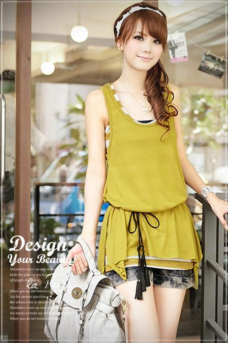 Sales! Ladies Yellow Swing Vest and Striped Vest with Belt #c253001y