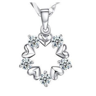 SALES Lovely Flower Crystal 925 Sterling Silver Pendant FREE NECKLACE