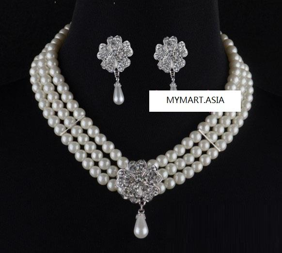 SALES Three Layer Pearl Daisy Diamond Earring Clip Necklace