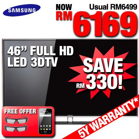 Samsung 46� Full HD Smart 3D LED TV +WiFi (UA46D6400) SRP RM6,499