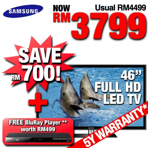 Samsung 46� FULL HD TV LED UA46D5000 +FREE Blu Ray Player SAVE RM1199