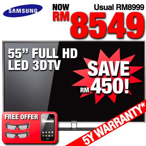 Samsung 55� Full HD Smart 3D LED TV +WiFi (UA55D6400) SRP RM8,999