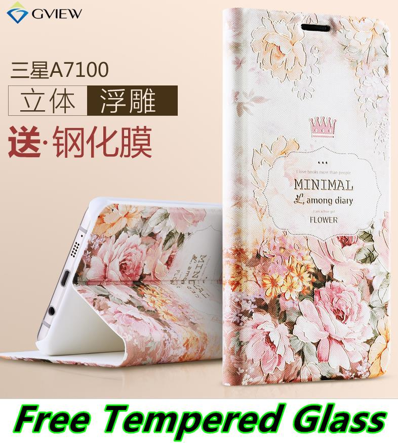 Samsung Galaxy A7 2016 A7100 3D Flip Case Cover Casing +Tempered Glass