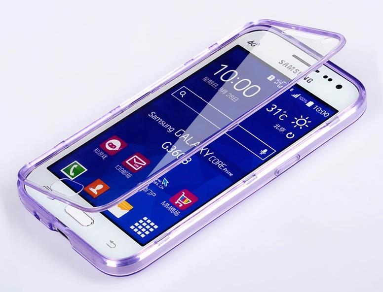 Samsung Galaxy Core Prime Transparent Flip Case Cover Casing + Gift