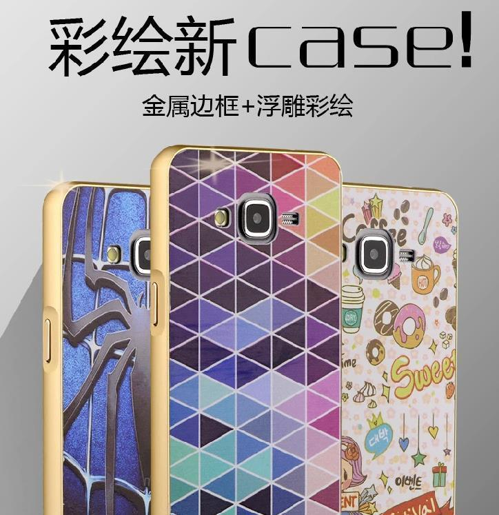 Samsung Galaxy Grand Prime 3D Metal & Relief Case Cover Casing + Gifts