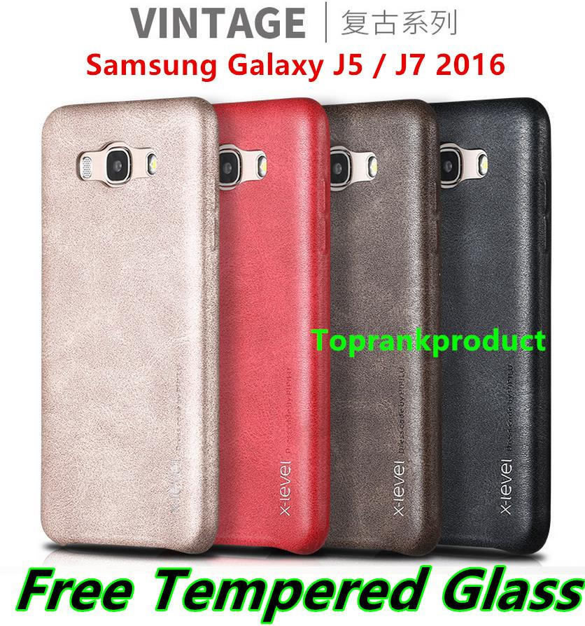 Samsung Galaxy J5 J7 2016 Leather Case Cover Casing +Tempered Glass