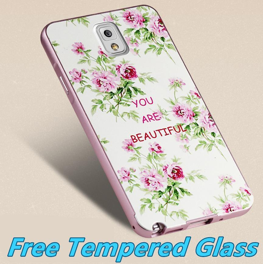 Samsung Galaxy Note 3 3D Metal Bumper Case Cover Casing Tempered Glass