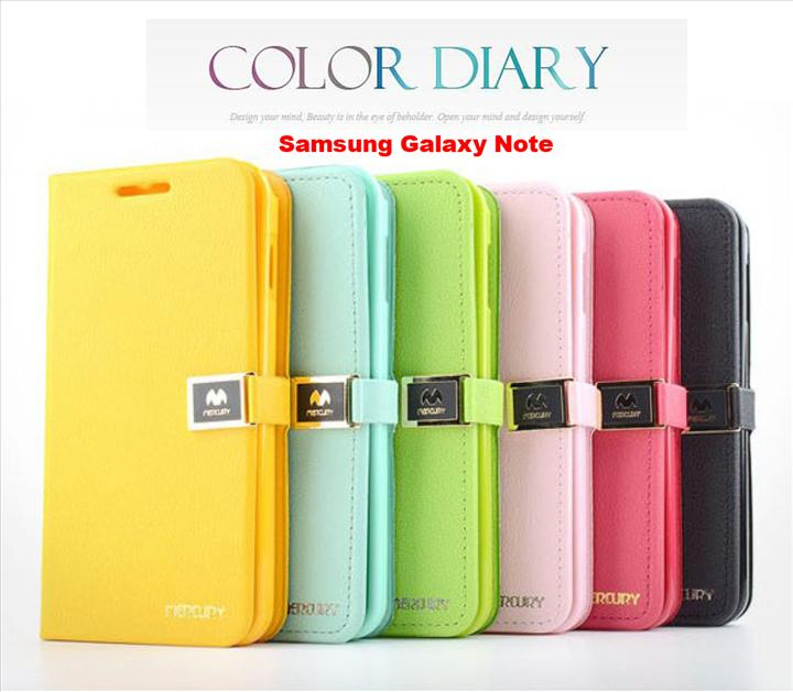 Samsung Galaxy Note N7000 I9220 Mercury Diary Case Cover Book Cover