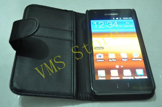 Samsung Galaxy S2 I9100 Wallet Leather Case Flip Cover -Free 2 Item