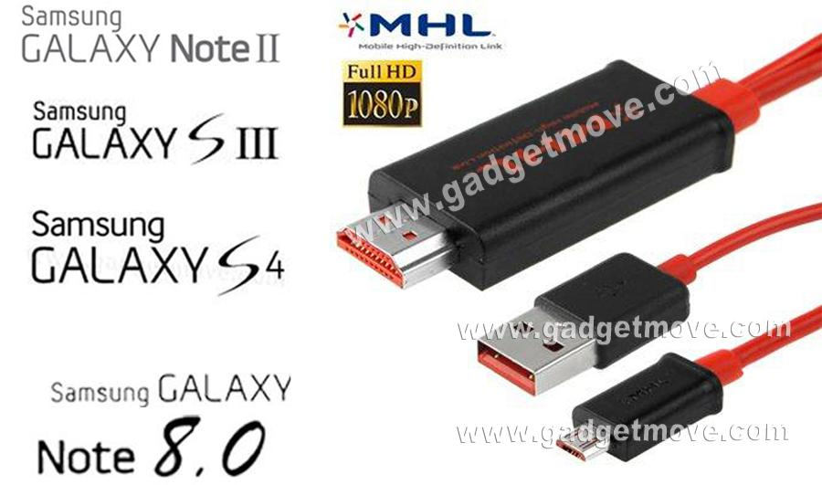 Samsung Galaxy S2 S3 S4 S5 Note 1 2 3 4 Edge 8.0 MHL HDMI Cable