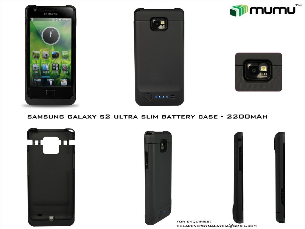 Samsung Galaxy S2 Ultra Slim Battery 2200mAh Case 1 yr wrty