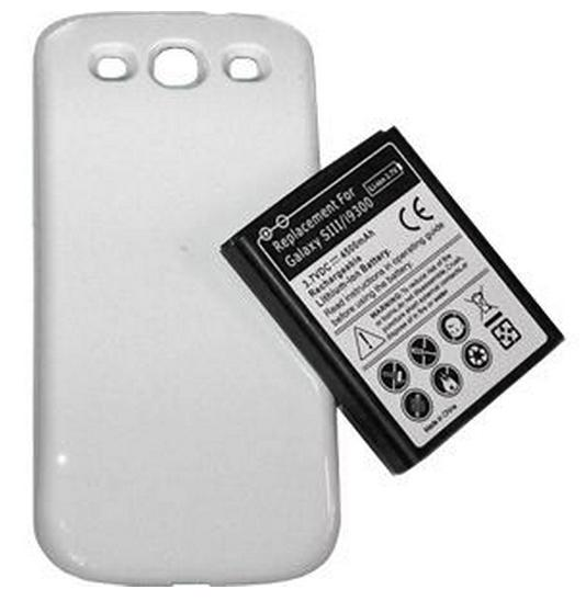 SAMSUNG GALAXY S3 I9300 4300MAH EXTENDED BATTERY WITH WHITE BACK COVER..