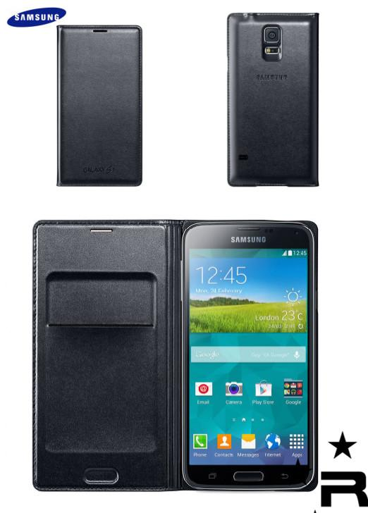 Samsung Galaxy S5 Original Flip Wallet Cover - Black - rmtlee