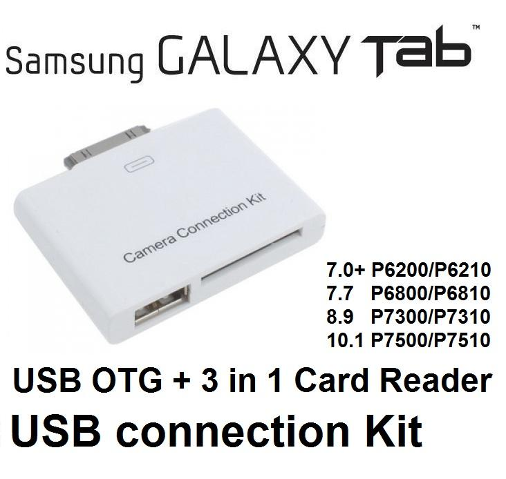 Samsung Galaxy Tab 7.0 Plus 7.7 8.9 10.1 OTG USB Connection Kit card r