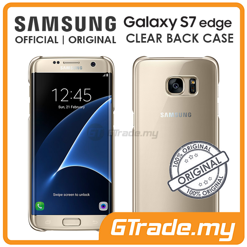 SAMSUNG Official Original Clear Back Cover Case | Galaxy S7 Edge Gold