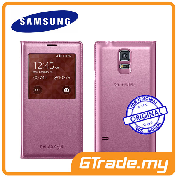 Samsung Original Galaxy S5 S-View Flip Cover Case | Pink