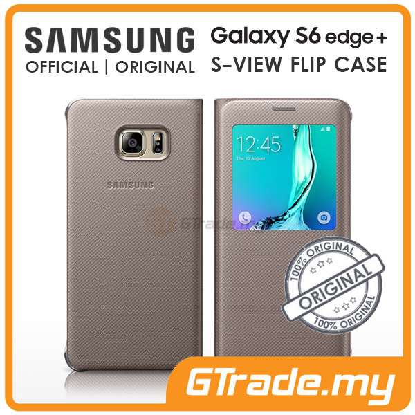 Samsung Original S-View Flip Cover Case | Galaxy S6 Edge Plus Gold