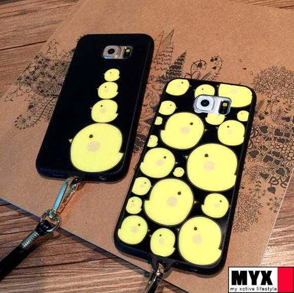 Samsung S6 Edge+ Cartoon Chick Korea Lanyard  Casing Case Cover