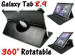SAMSUNG TAB LEATHER ROTATING CASE STAND COVER SAMSUNG GALAXY TAB 8.9 P..