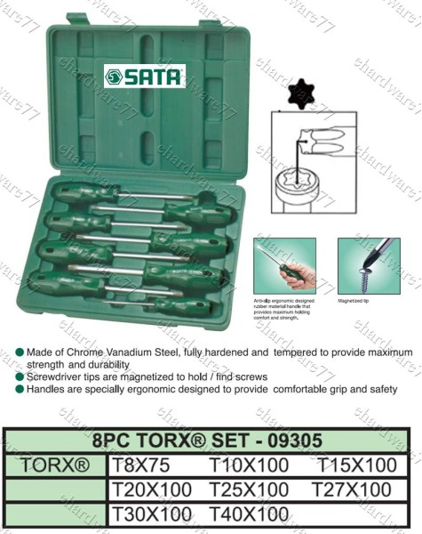 SATA 8PCS TORX SCREWDRIVER SET (09305)