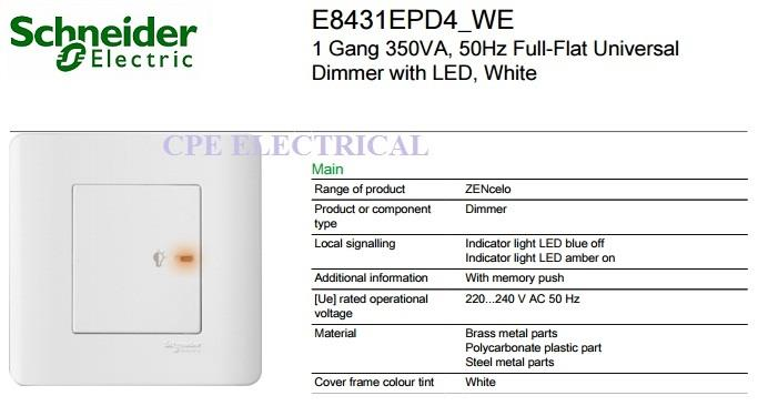 Schneider Zencelo E8431EPD4 1 Gang Dimmer Switch, White