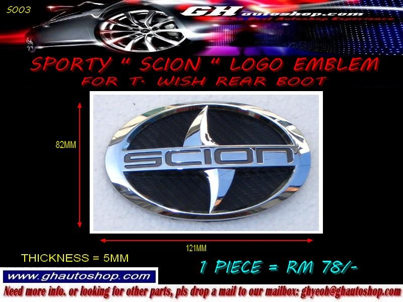 SCION CARBON LOGO EMBLEM FOR TOYOTA WISH REAR BOOT S003