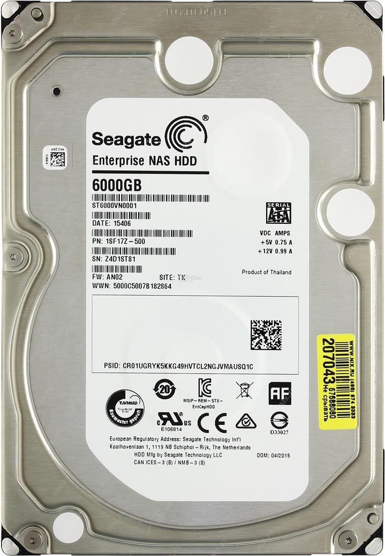 Seagate Enterprise NAS 6TB 7200 RPM HDD ST6000VN0001