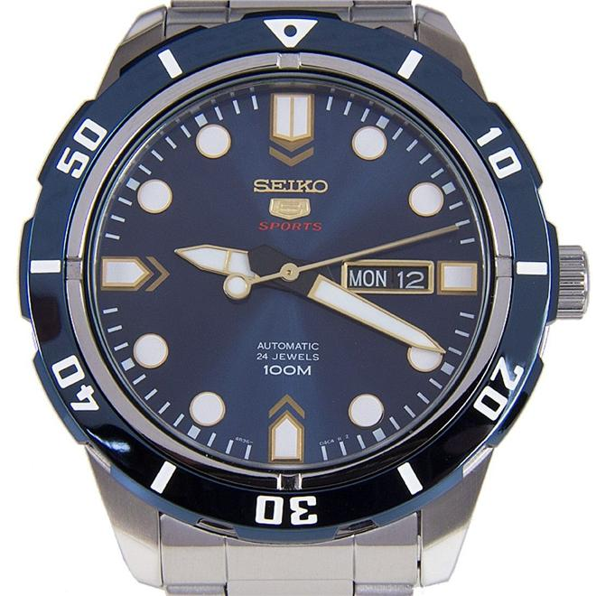 Seiko 5 Sports Automatic Blue Dial SS Mens Watch SRP677