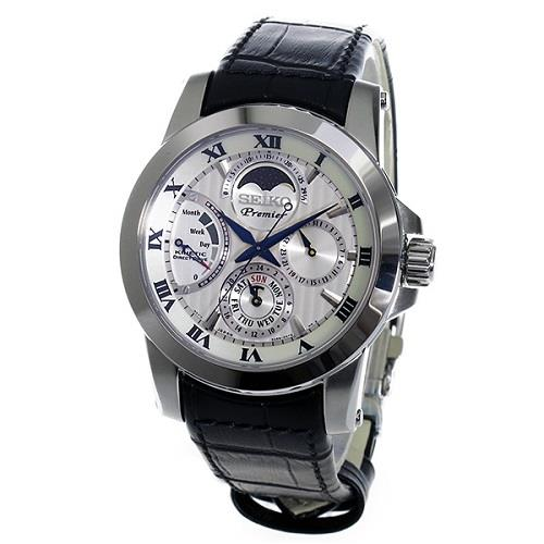 SEIKO SRX011P2 SRX011 PREMIER KINETIC MOON PHASE MENS WATCH