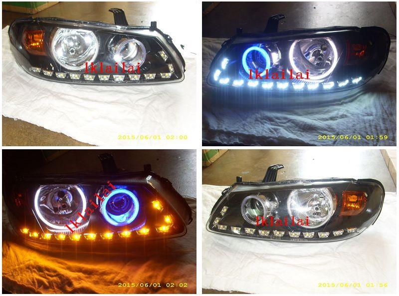 Sentra N16 03 CCFL Ring Projector Head Lamp + 2-Function LED DRL R8