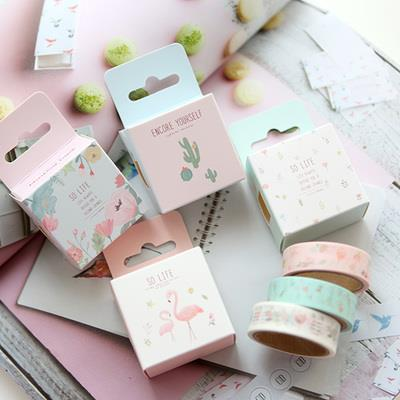 Set of 2 Sweet Cactus Flamingo Floral Washi Tape
