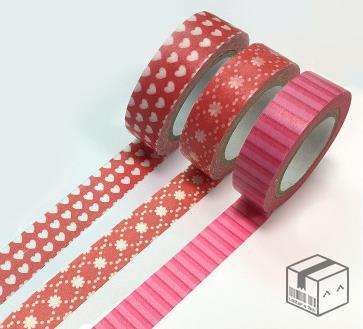 Set of 3 Red Hearts Valentine's Washi Tape