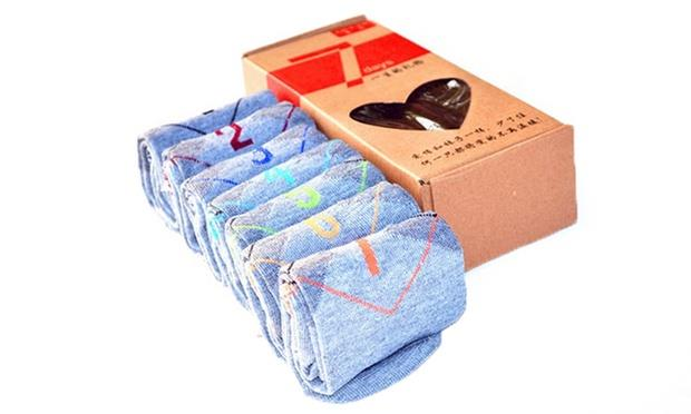 Set of 7-Day Ankle-Length Cotton Socks