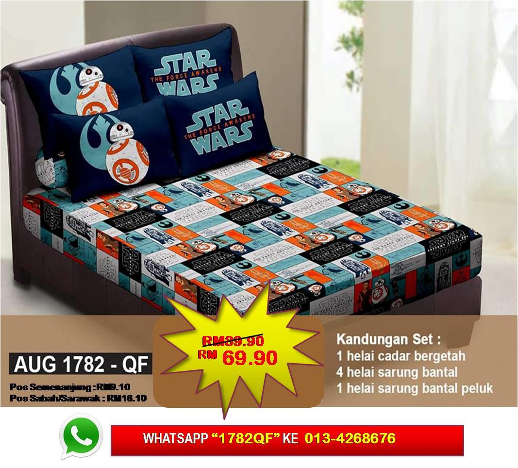 Set Cadar Queen Fitted 'STAR WARS 7' Bedsheet