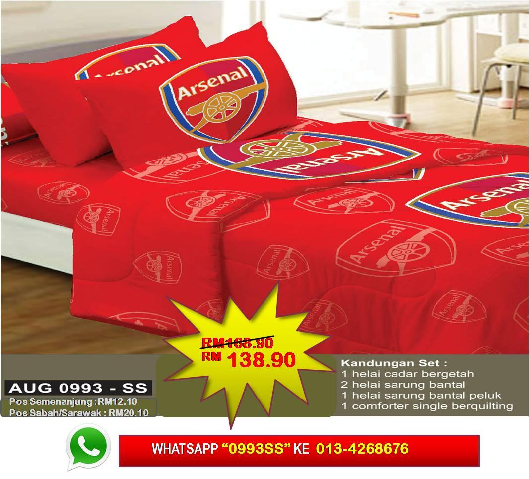 Set Cadar Single + Comforter 'ARSENAL'' Bedsheet