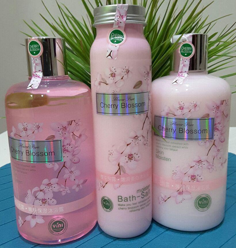 Image result for CHERRY BLOSSOM. SET 3 IN 1 ( BODY BATH + LOTION + SCRUB )