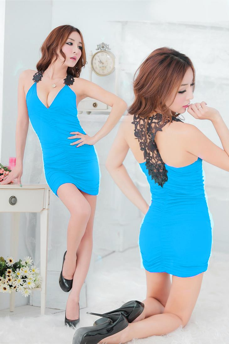 Sexy Beauty-Back Crochet Night Club Dress+T-panties (Sky Blue)