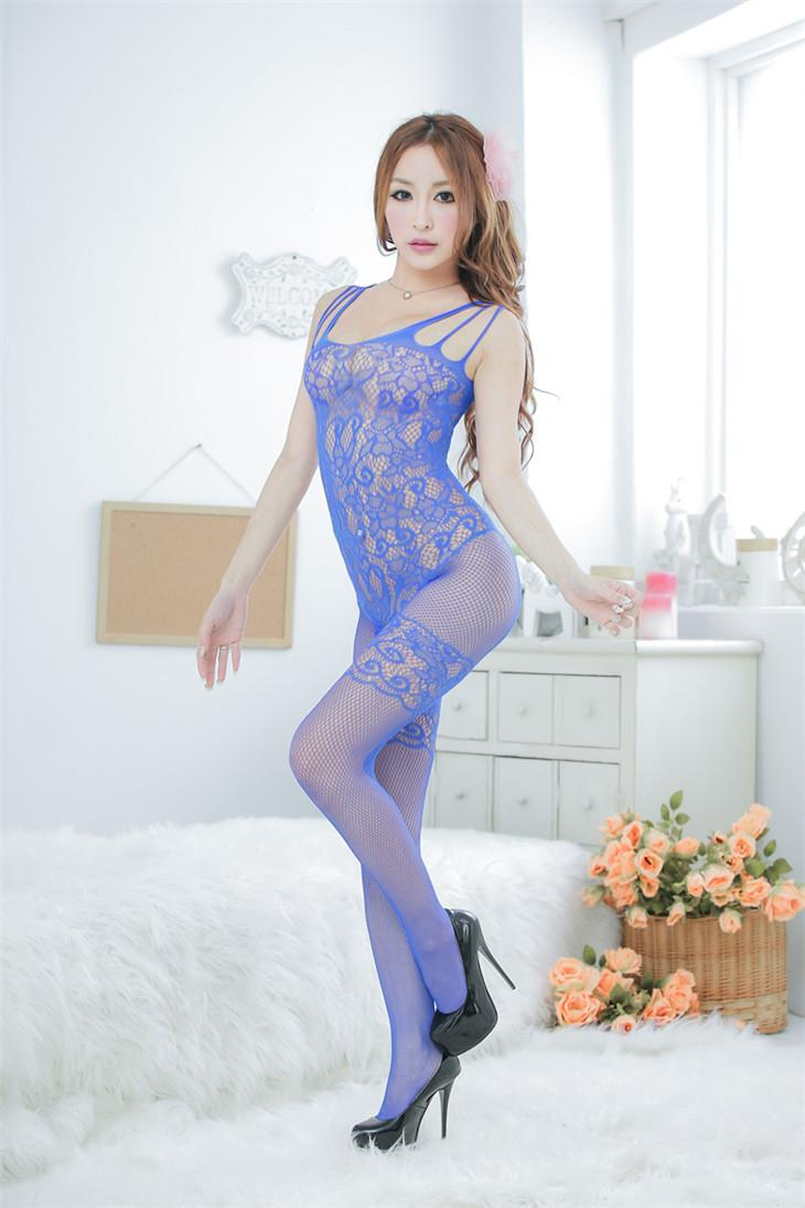 Sexy Jacquard Flower One-Pcs Fishnet Stocking (Blue)