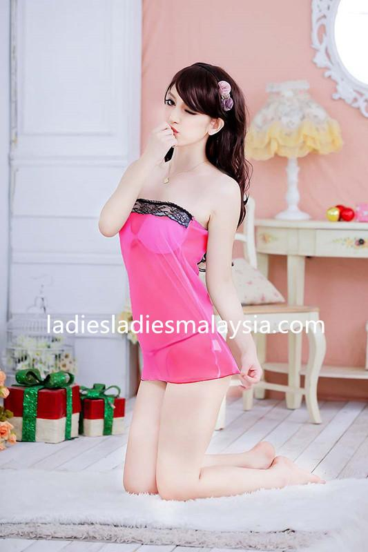 sexy lingerie sleepwear nightwear pink lace dress