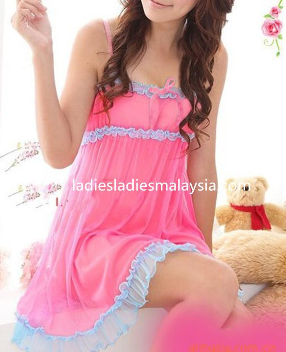 sexy lingerie sleepwear nightwear pink lace ribbon dress