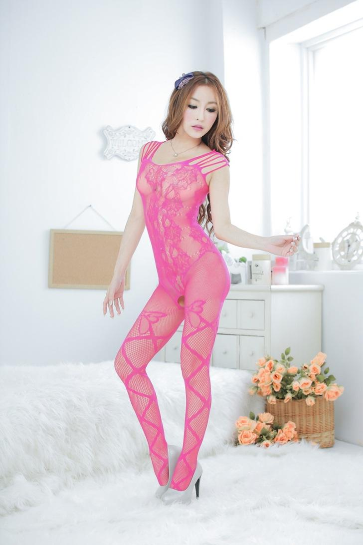 Sexy Passion Jacquard Flower One-Pcs Fishnet Stocking (Rose Red)