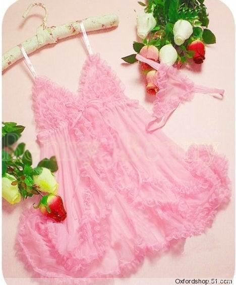 sexy pink lingerie transparent night pretty lady night sleepwear dress