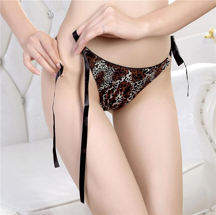 Sexy Low Waist Side-Tie Leopard Pattern Underwear