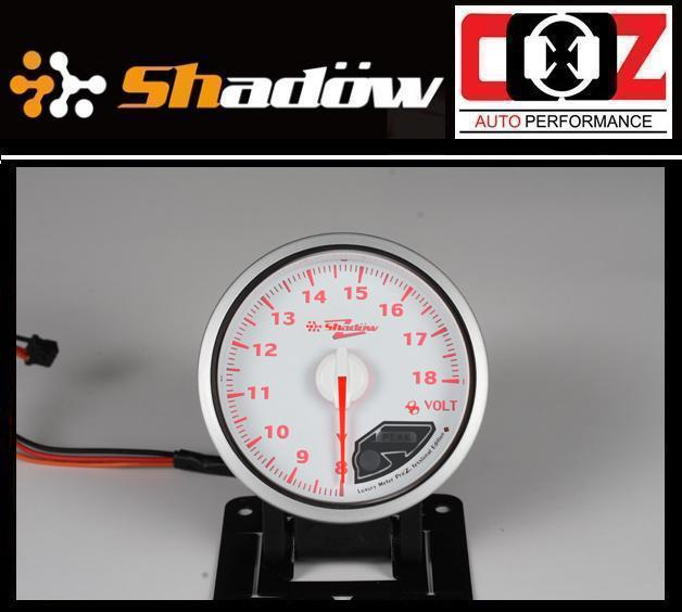 Shadow Pro II Gauge / Meter 60mm Voltage (White Face)