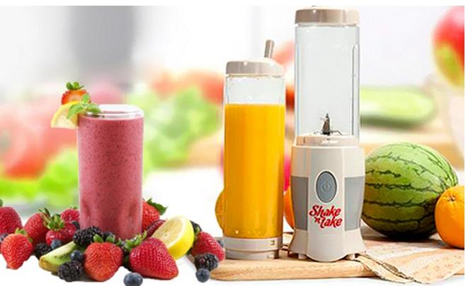 Shake N Take Mini Juice Blender with 2 Travel Bottles.