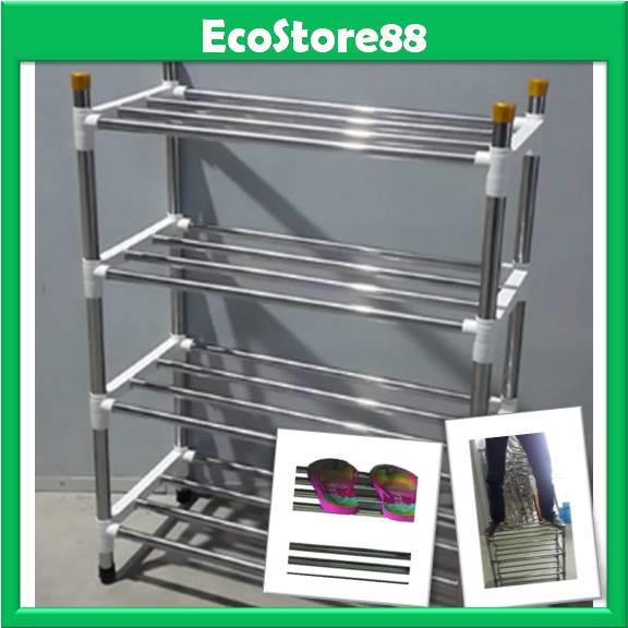 Shoe Rack 4 Tier Stainless Steel with Black Colour Joint