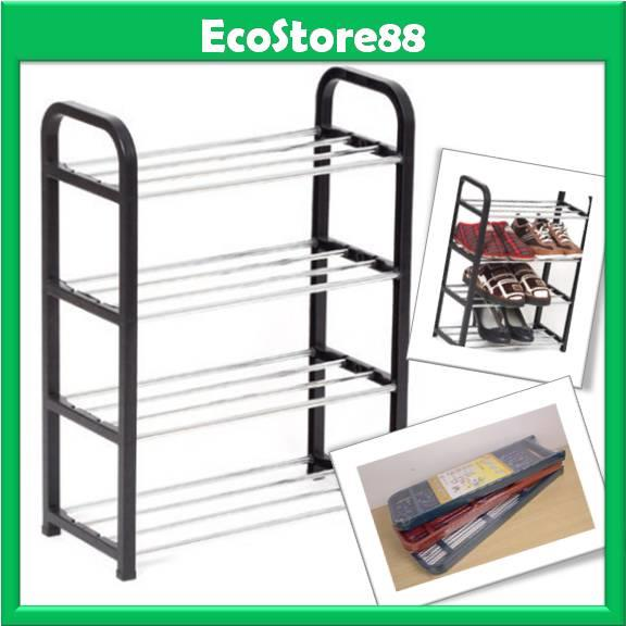 Shoe Rack ABS Plastic 4 Tier - Black Colour