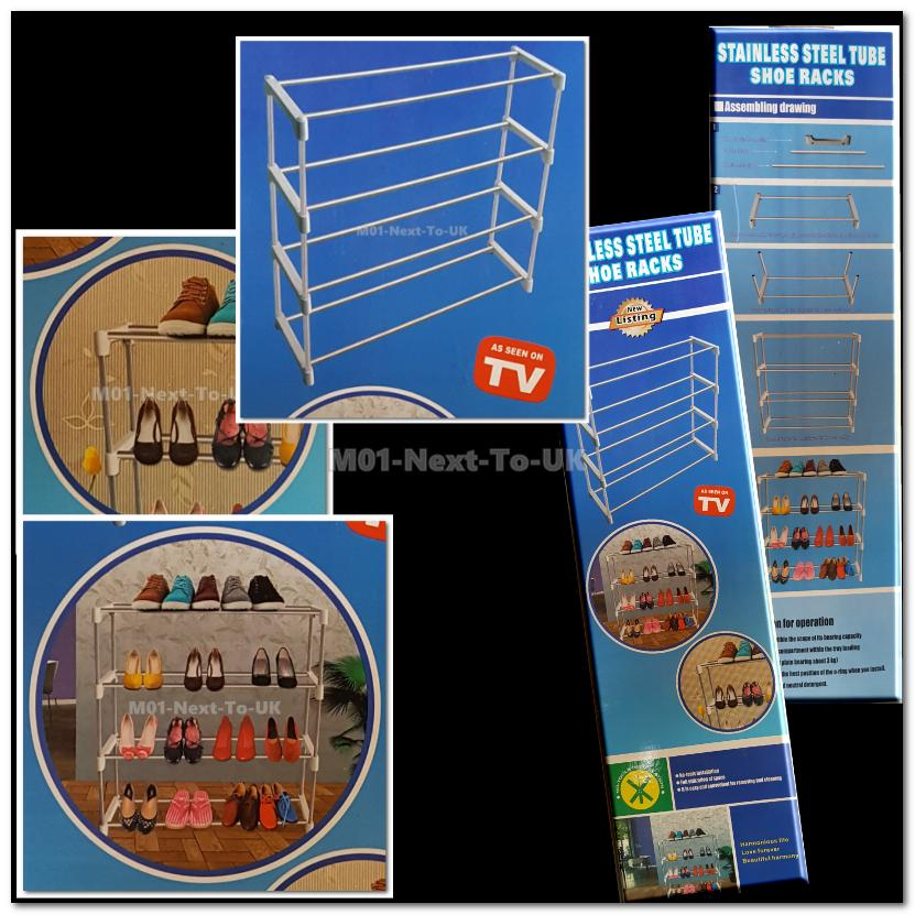 Shoe Rack Organizer with 4 Tier Layers Stainless Steel 4 Level